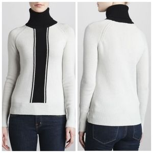 Theory Wool Colorblock Ribbed Turtleneck Sweater